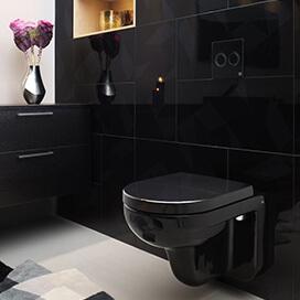 Прикосновение черного оттенка в ванной комнате