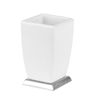 Стакан для зубных щеток керамический, настольный Gessi Mimi accessories (цвет - хром/белый)