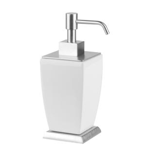 Дозатор для жидкого мыла керамический, настольный Gessi Mimi accessories (цвет - хром/белый)