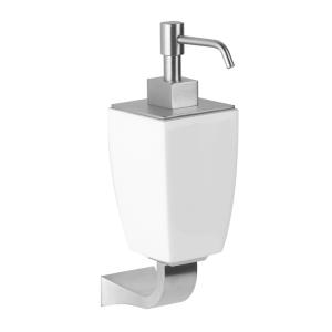 Дозатор для жидкого мыла керамический, настенный Gessi Mimi accessories (цвет - хром/белый)