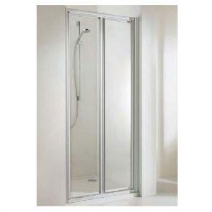 Двухстворчатая дверь в нишу Huppe Alpha PT 1000 (профиль - матовое серебро; стекло - прозрачное)