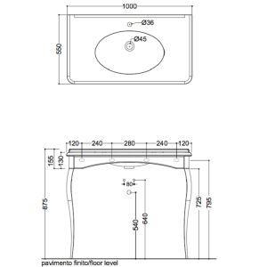 Раковина Kerasan Retro 100см 1049K0