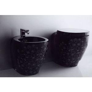 Унитаз приставной Simas Bohemien (цвет - чёрный с декором)