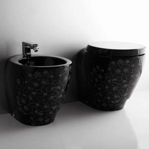 Унитаз приставной Simas Bohemien, чёрный с декором