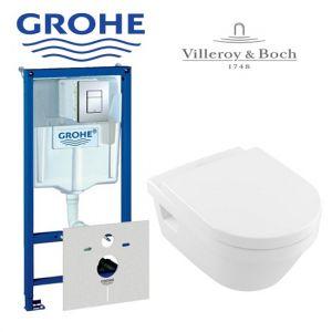 Инсталляция Grohe Rapid SL (4-в-1) комплект 38772001 с унитазом Villeroy & Boch Omnia Architectura 5684H101 + (сиденье Soft Close)
