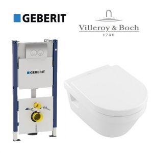 Инсталляция Geberit Duofix (4-в-1)  комплект 458.121.21.1 с унитазом Villeroy & Boch Omnia Architectura (5684H101) + ( сиденье Soft Close)
