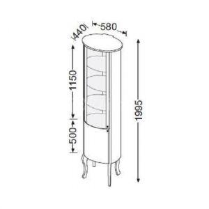 Высокий шкаф (пенал) Burgbad Diva 580х1995х440 мм, черный (корпус - ДСП, фасады - стекло)