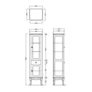 Шкаф с витриной и ящиком Simas Arcade