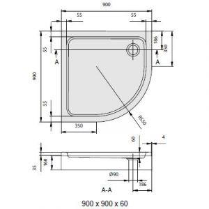 Душевой поддон Villeroy & Boch O.Novo 900 х 900 мм, h=60 мм