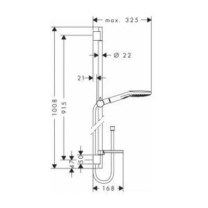 Душевой гарнитур Hansgrohe Raindance Select 120 3jet со штангой 90 см и мыльницей (цвет - хром/белый)