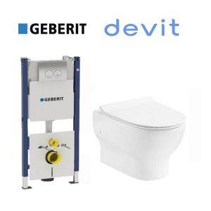 Инсталляция Geberit Duofix (4-в-1) комплект 458.121.21.1 с унитазом Devit Fresh 3120121 + ( сиденье Soft Close) Slim