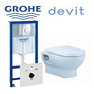 Инсталляция Grohe Rapid SL (4-в-1) комплект 38750001 с унитазом Devit Fresh 3020121 + ( сиденье Soft Close)