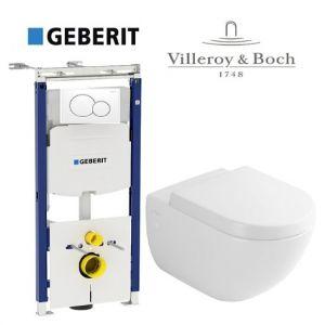 Инсталляция Geberit Duofix (4-в-1) комплект 111.362.00.5 с унитазом Villeroy & Boch Subway 66001001 и сиденьем Soft Close