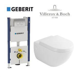 Инсталляция Geberit Duofix (4-в-1) комплект 458.161.21.1 с унитазом Villeroy & Boch Subway 66001001 + ( сиденье Soft Close)