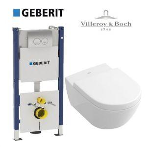 Инсталляция Geberit Duofix (4-в-1) комплект 458.161.21.1 с унитазом Villeroy & Boch Subway 56001001 + ( сиденье Soft Close)