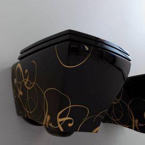 Унитаз подвесной с декором ArtCeram Jazz Deco 370 х 525 мм, h=370 мм