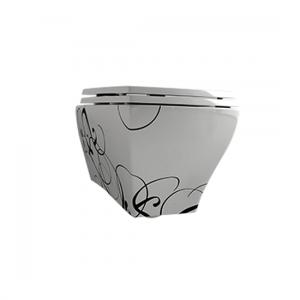 Унитаз подвесной с декором ArtCeram Jazz Deco (цвет - белый / чёрный)