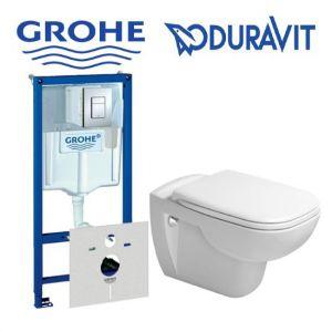 Инсталляция Grohe Rapid SL (4-в-1) комплект 38775001 с унитазом Duravit D-Code 22110900002 + (сиденье Soft Close)