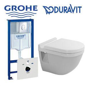 Инсталляция Grohe Rapid SL (4-в-1) комплект 38775001 с унитазом Duravit Starck 3 2200090000 + ( сиденье Soft Close)