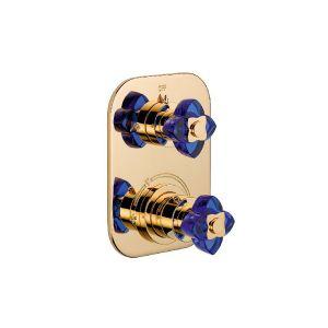 Термостатический смеситель на 2 положения THG Baccara синий хрусталь/хром
