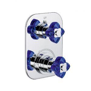 Термостатический смеситель Baccarat Petale de cristal синий хрусталь/хром