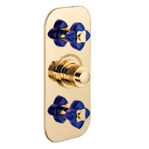 Смеситель термостатический THG Baccarat, синий хрусталь/золото