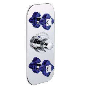 Смеситель термостатический THG Baccarat, синий хрусталь/хром