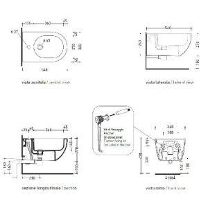 Биде подвесное Flaminia App 54х36 см (черный)