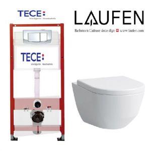 Инсталляция Tece (4-в-1) комплект 9400005 с унитазом LAUFEN PRO Rimless  (без ободка) 8.2096.6.000.000.1 + ( сиденье Soft Close)