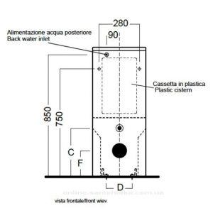 Бачок Monolith 37x13 с механизмом и креплениями