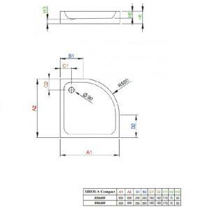 Душевой поддон Radaway Siros Compact 900 х 900 мм, h=70 мм