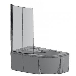 Шторка для ванны CVSK1 ROSA 160/170 R полир.алюм.+Transparent