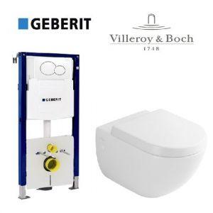 Инсталляция Geberit Duofix (4-в-1) комплект 111.300.00.5 с унитазом Villeroy & Boch Subway 66001001 + ( сиденье Soft Close)