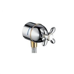 Fixfit Stop шланговое подсоединение, с крестовой рукояткой, хром/под золото