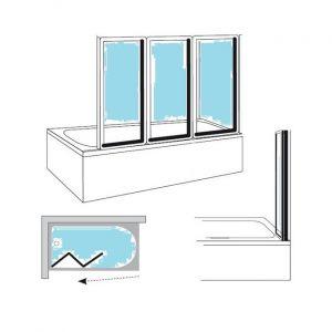 Штора для ванны складывающаяся трехэлементная RAVAK  VS3 115 белый+transparent