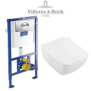 Инсталляция Villeroy & Boch ViConnect (4-в-1)  комплект с унитазом Villeroy & Boch Venticello Directflush 4611R001 + ( сиденье Soft Close) Slim