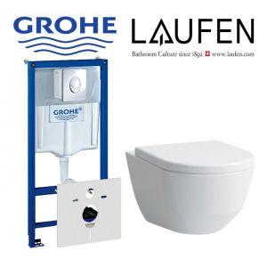 Инсталляция Grohe Rapid SL (4-в-1) комплект 38750001 с унитазом Laufen PRO Rimless (без ободка) 8.2096.6.000.000 + (сиденье Soft Close)