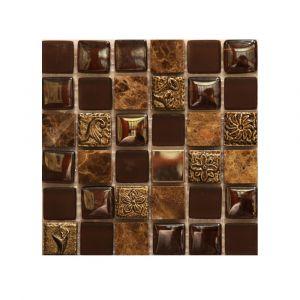 Мозаика Mozaico de LUX S-MOS HS0168 ST+GL CHOCOLATE 300 × 300 × 8 мм