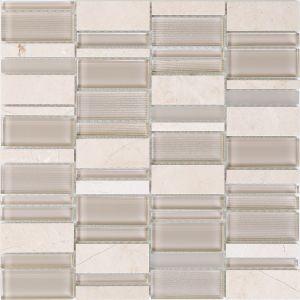 Мозаика Mozaico de Lux T-MOS CREMA LINEAR 306 х 306 мм