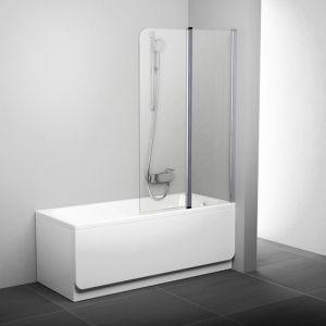 Штора для ванны двухэлементная CVS2-100 L полир. алюм.+Transparent