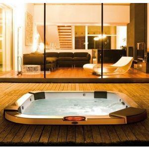 Jacuzzi Минибассейн с г/м, свободностоящий, с панелями, Platinum/Grafite, Santorini Pro Sound, 230x215xh90