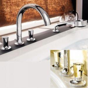 Смеситель Dornbracht LaFleur на борт ванны с душевым набором на четыре отверстия хром, ручки STRASS® Swarovski® Crystal