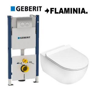 Инсталляция Geberit Duofix (4-в-1) комплект  458.161.21.1 с унитазом Flaminia APP Goclean (без ободка) AP118G (сиденье Soft Close) Slim
