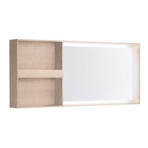 Настенное зеркало Geberit Citterio с деревянной рамкой, полочками слева и подсветкой, светлый дуб