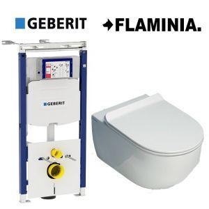 Инсталляция Geberit Duofix (3-в-1) комплект  111.362.00.5 с унитазом Flaminia APP Goclean (без ободка) AP118G (сиденье Soft Close) Slim