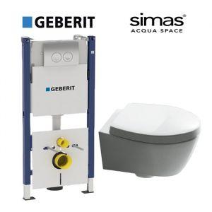 Инсталляция Geberit Duofix (4-в-1) комплект 458.161.21.1 с унитазом Simas SPAZIO LFT18 (сиденье Soft Close)