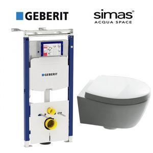 Инсталляция Geberit Duofix (3-в-1) комплект 111.362.00.5 с унитазом Simas SPAZIO LFT18 (сиденье Soft Close)