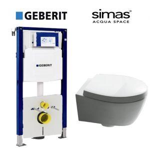 Инсталляция Geberit Duofix (3-в-1) комплект 111.300.00.5 с унитазом Simas SPAZIO LFT18 (сиденье Soft Close)