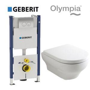 Инсталляция Geberit Duofix (4-в-1) комплект 458.161.21.1 с унитазом Olympia Clear 15CL (сиденье Soft Close)