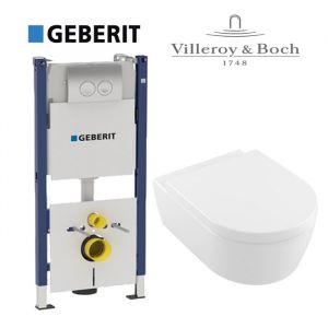 Инсталляция Geberit Duofix (4-в-1) комплект 458.161.21.1 с унитазом Villeroy & Boch AVENTO Directflush 5656HR01 + (сиденье Soft Close)